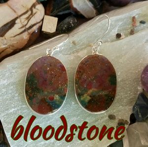 Bloodstone Earrings Sterling Silver